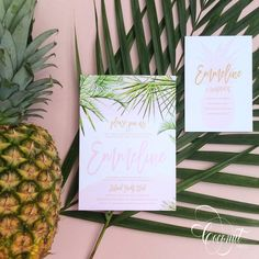 Tropical Palm Leaf Bridal Shower Invitations // Pink, Palms, Tropical, Summer // Invitations & Design by Coconut Press Pink Invitations, Bridal Shower Invitations, Invitation Design, Boutique Design, Personalized Stationery, Wedding Events, Weddings, Coconut, Place Card Holders
