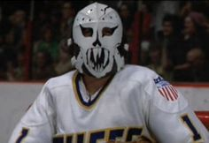 He never played a single game in the NHL, but Denis Lemieux (whose real name is Yvon Barette) will always be remembered as the allergy stricken, small goalie for the Charlestown Chiefs from the 1976 cult hockey movie Slap Shot. Hockey Goalie, Ice Hockey, Classic Movie Quotes, Slap Shot, Goalie Mask, Marvin The Martian, Quote Of The Week, Masked Man, Hockey Cards