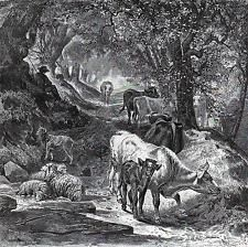 Cows Sheep Shady Lane 1870s Antique Print Peter Moran Aldine Black White Art