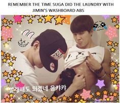 *DYING* Suga doing his laundry on Jimins rippling abs! Same old,same old! Nothing new here,just a normal day in BTS/Bangtan Boys!