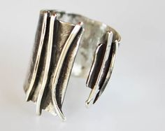 Sterling Silver Cuff Ring,open ring.adjustable ring,Unique ring ,sleek style  , modern silver tone ,architectural ring , minimal silver ring