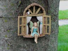 Fairy Garden Accessories Window with sitting fairy with blue dress and bird - miniature garden accessory - window for tree stump by TheLittleHedgerow on Etsy https://www.etsy.com/listing/484913121/fairy-garden-accessories-window-with