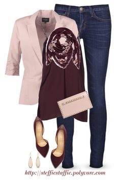 """""""Pale Pink & Burgundy"""" by steffiestaffie ❤ liked on Polyvore featuring Current/Elliott, mbyM, Forte Forte, Charlotte Olympia, Valentino and Alexander McQueen"""