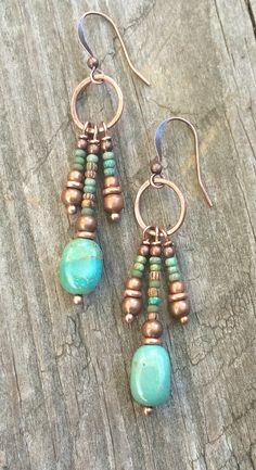 Turquoise earrings turquoise dangle oorbellen boho koperen