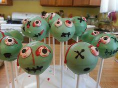 Zombie Cake Pops Zombie Birthday Cakes, Zombie Birthday Parties, Zombie Party, Halloween Food For Party, Homemade Halloween, Halloween Cake Pops, Halloween Treats, Buttercream Birthday Cake, Butterfly Cupcakes