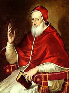 Pope Pius V, head of the Catholic Church from 1566-1572. He was responsible for excommunicating Anne's daughter, Elizabeth I, for schism and persecutions of Catholics during her reign.