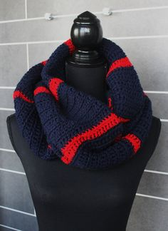 Nautical Navy and Red Infinity Scarf wrap fit by nimwitstudio
