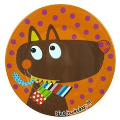 Louloup (the greedy loveable wolf!) Melamine Plate I Peanut & Pip. Melamine Tableware for Children. Brighten up teatime with colourful melamine.