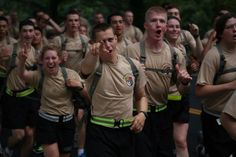 Rising yearlings ran more than six miles from Camp Buckner to Washington Hall on July 26, 2013, completing Cadet Field Training! See more photos here: https://www.facebook.com/media/set/?set=a.10151724433004871.1073741842.15798449870=3