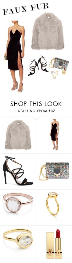 """""""Faux fur look of the day"""" by audrey-balt ❤ liked on Polyvore featuring STELLA McCARTNEY, Cushnie Et Ochs, Aquazzura, Jimmy Choo, Monica Vinader and Yves Saint Laurent"""