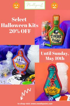 No tricks, just treats this May!! Stay tuned for a different kit sale every week of May! This week select Halloween kits are 20% off until Sunday, May 10th! #needlepoint #needlepointsale #halloweenneedlepoint