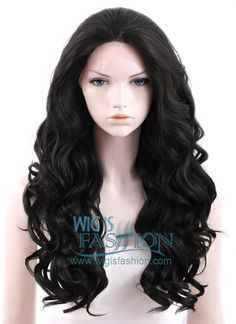 "24"" Long Curly Natural Black Lace Front Synthetic Hair Wig LF111 - Wig Is Fashion"