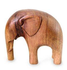 Artisan Crafted Wood Sculpture - Modern Elephant | NOVICA