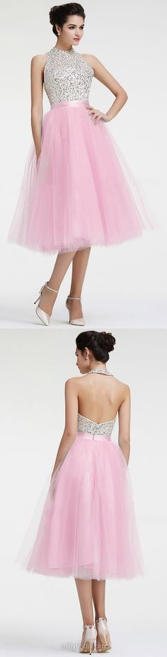 Pretty Pink Homecoming Dresses,A-line Cocktail Dresses, Halter Party Gowns,Tulle Tea-length Sequins Graduation Dresses,Backless Prom Dresses