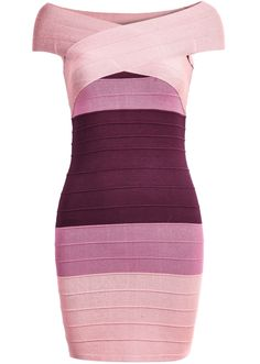 Pink Ombre Short Sleeve Bandage Dress 28.33