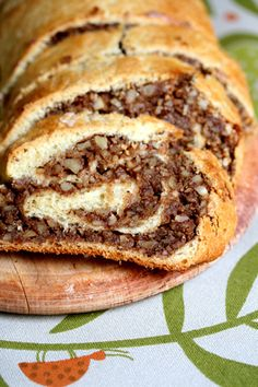 Hungarian nut roll is one of my family's most treasured recipes - but this version has less fat since it's made with skim milk and low-fat margari Fresh yeast is usually found in the dairy section, but you can substitute with 2 ounce) packets of dry yeast Just Desserts, Delicious Desserts, Dessert Recipes, Yummy Food, Hungarian Recipes, Hungarian Nut Rolls Recipe, Slovak Recipes, Hungarian Food, Austrian Recipes