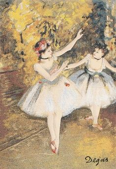 Edgar Degas (1834-1917), Born Hilaire-Germain-Edgar de Gas, was a French artist famous for his work in painting, sculpture, printmaking and drawing. He is regarded as one of the founders of impressionism, although he rejected the term and preferred to be called a realist. He painted Two Dancers on Stage around 1874. Woven in Belgium. details here: Degas Two Dancers On Stage Belgian Tapestry