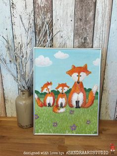 New to SandraArtStudio on Etsy: DIGITAL Print kids art FOXES - Instand download - Foxes painting (10.00 EUR)