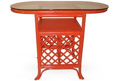 Love the retro look and color of this bar cart.