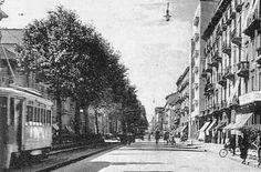 Viale Premuda anni 30, il palazzo bianco di sei piani sulla destra è quello all'angolo di via Sottocorno | da Milàn l'era inscì
