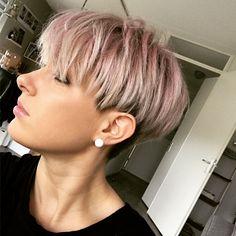 Pastel pink pixie hair
