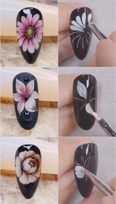 3 Hand Painted Flower nails ideas,Simple nails art design video Tutorials Compilation Part 44 - Christmas Nail Art Designs Nail Art Designs Videos, Simple Nail Art Designs, Nail Art Videos, Nail Art Flowers Designs, Art Simple, Makeup Videos, Rose Nail Art, Flower Nail Art, Butterfly Nail Art