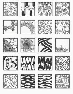 Zentangle, rustgevend tekenen: Zentangle, voorbeelden patronen 3