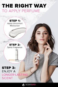 Here's how to get the longest lasting scent out of your perfume: Apply body lotion and then immediately spritz on your fragrance while skin is still damp. Your skin will absorb the complete mixture and the warmth of your body will release the fragrance molecules throughout the day. Try this trick with over 450 fragrances when you sign up for a Scentbird subscription. Choose a new perfume each month for only $14.95 and get a generous supply shipped to your door.