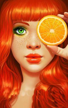 Red Orange by Daniela Uhlig. I know this is an illustration, but I'm digging the thought of orange hair! Pinup, Orange You Glad, Arte Pop, Digital Illustration, American Illustration, Native American Indians, Redheads, Orange Color, Orange Orange