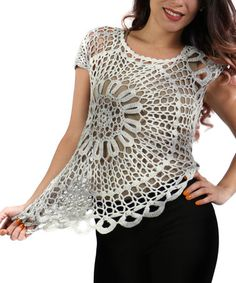 Another great find on #zulily! Gray Sheer Crochet Top - Plus #zulilyfinds