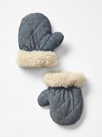 Cozy chambray mittens