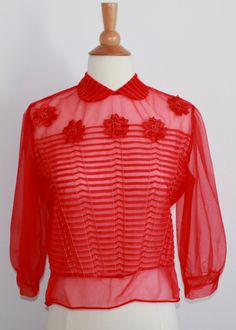 7e16b615b Sheer Red Cropped Blouse with Peter Pan Collar Crop Blouse