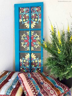 27 DIY Painted Garden Decoration Ideas To Brighten Up Your Backyard Tole Painting on Bright Blue Window Frame Colorful Garden, Colorful Decor, Tole Painting, Diy Painting, Edging Ideas, Painted Front Doors, Vintage Windows, Window Art, Window Frames