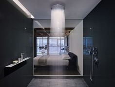 Edmonds + Lee Architects have designed the gorgeous oriental warehouse loft conversion. The project is located in San Francisco's South Beach neighborhoo Contemporary Shower, Modern Shower, Contemporary Bathrooms, Modern Contemporary, Douche Design, Waterfall Shower, Indoor Waterfall, Warehouse Loft, Warehouse Apartment