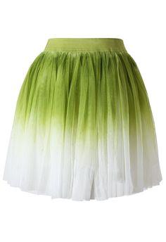 Ombre Green Tulle Skater Skirt