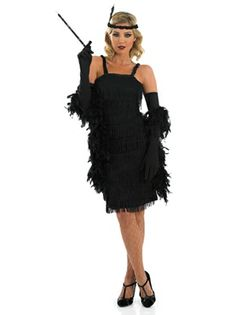 1920s Roaring Black Flapper Costume
