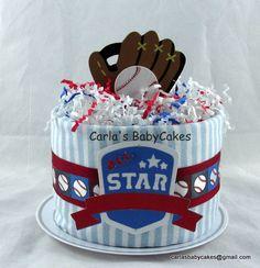 Boy Baby Diaper Cake Sports diaper cake Baby by MsCarlasBabyCakes, $18.00