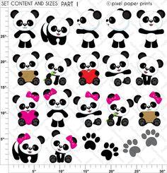Panda Bear - Clip art and digital paper set - Panda clipart