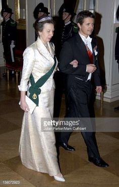 a newly acquired photo of Princess Anne in the meander tiara, February 2007, on the amr of Crown Prince Frederick of Denmark on the occasion of the 70th birthday celebrations of King Harald of Norway
