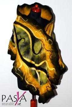 Handmade Merino Wool Felted Silk Gold Yellow Black by Pasya