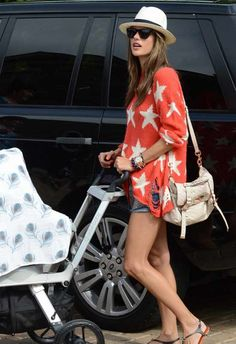 ad60d048e0 Borse Leichic · Who made Alessandra Ambrosio's studded denim shorts, red  and white start sweater and handbag?