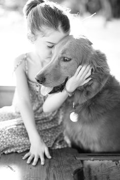 A girl and her dog.