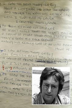 "John Lennon's handwritten lyrics to the famous Beatles song ""A Day in the Life""  http://m.nypost.com/p/news/local/manhattan/pay_in_the_life_O30x7e6ZkG1VyM3HGxMHWI"