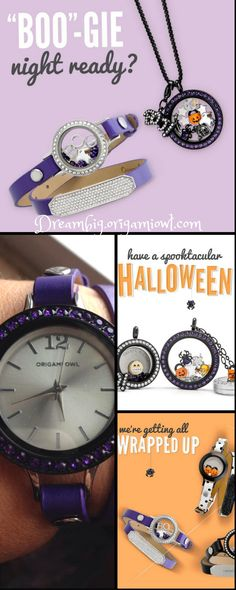 Limited edition deep purple leather wrap bracelet from Origami Owl. Available while supplies last. Purple Swarovski large locket face for Halloween. https://dreambig.origamiowl.com/