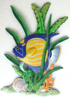 Tropical Wall Decor tropical fish wall hanging - garden art, painted metal tropical