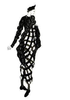 Fashion illustration - fashion design sketch // John Galliano