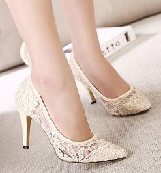 Xmas Womens High Heels Lace Pumps Stilettos Pointed Toe Party Wedding Bride Shoe