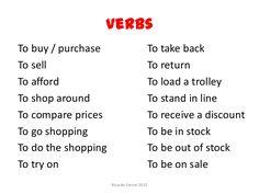 Shopping Vocabulary 5/8: Verbs