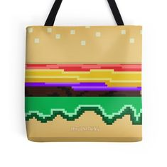 'Bit Burger ' Tote Bag by proudnothing Large Bags, Small Bags, 8 Bit, Watch V, Medium Bags, Cotton Tote Bags, Are You The One, Cool Stuff, Stuff To Buy
