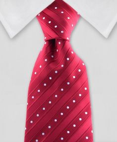 Red tie with stripes and white polk dots #polkadots #silktie #tie